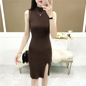 Stand Neck Ribbed Sleeveless Fitted Dress - Coffee