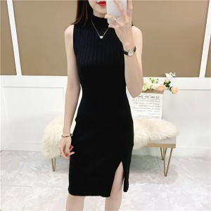 Stand Neck Ribbed Sleeveless Fitted Dress - Black
