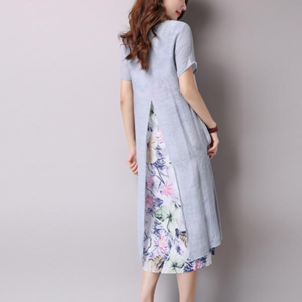 Fake Two Pieces Floral Split Dress - Gray