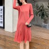 Knitted Long Skirt Mesh Stitching Women Dress - Red