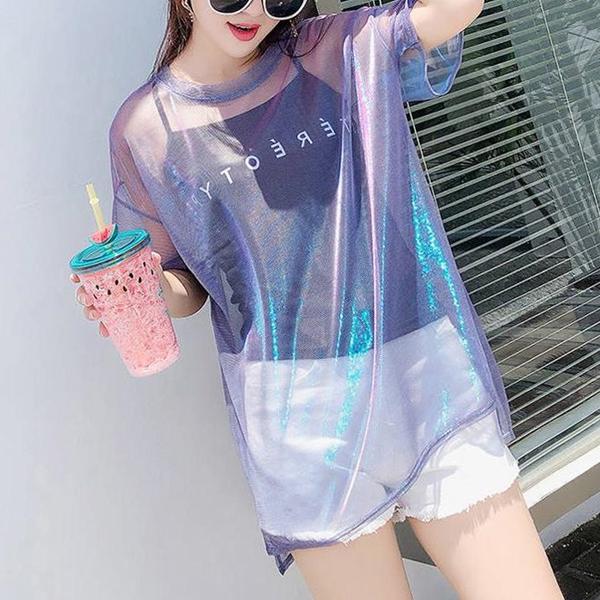 Shiny Net Mesh Short Sleeved Transparent T-Shirt - Purple