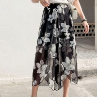 Floral Prints Irregular Chiffon Skirt - Black