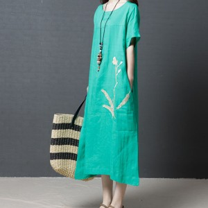 Boho Loose Embroidery Summer Wear Midi Dress - Green