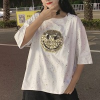 Sequins Decorative Loose Half Sleeved T-Shirt - White