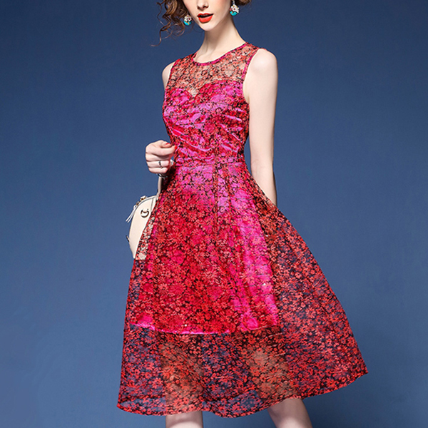 A-line Slim Skater Floral Print Thin Lace Dress Red