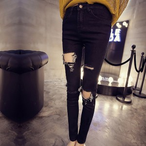 Ripped Narrow Bottom Slim Wear Casual Pants - Black
