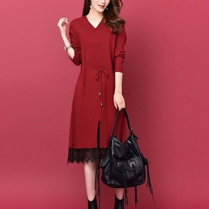 Formal Dress Long Sleeves V Neckline Dress - Red