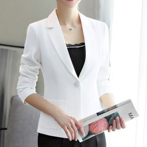 Formal Office Wear Outwear Coat Cardigan - White