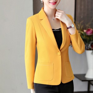 Formal Office Wear Outwear Coat Cardigan - Yellow