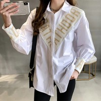Alphabetic Contrast Striped Prints Casual Shirt - White