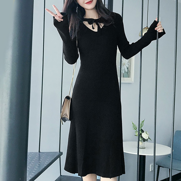 Midi Length Full Sleeves Formal Dress - Black