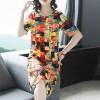 Geometric Printed Sleeves Beach Midi Dress - Multicolor