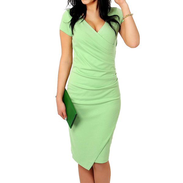 American Temperament Sexy V-neck Slim Large Size Candy Color Dress