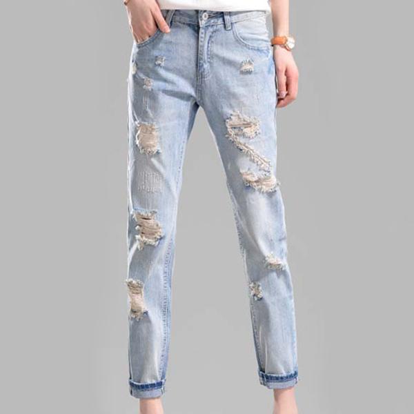 Shredded Midi Length Casual Wear Jeans - Blue
