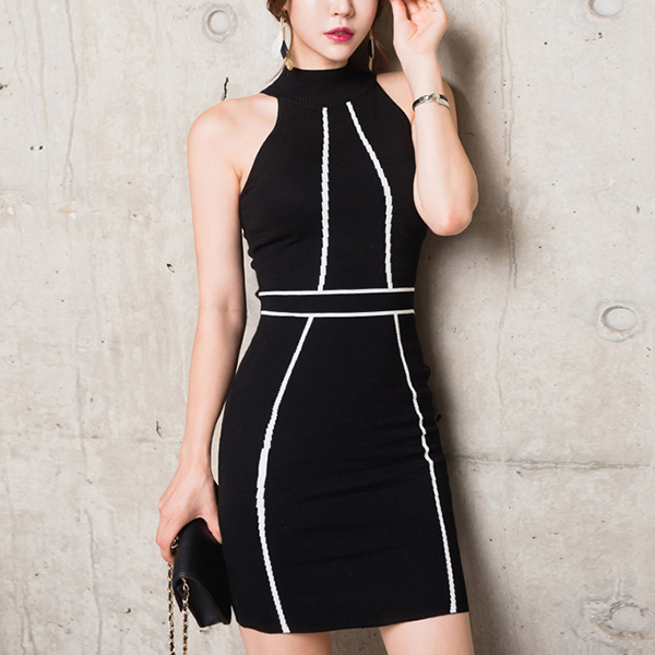 Halter Neck Sleeveless Body Fitted Mini Dress