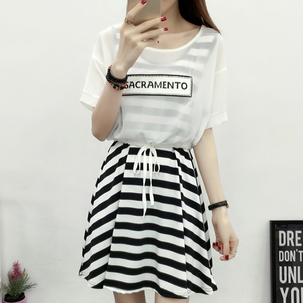 Summer Special Striped Dress With Outwear Top - White