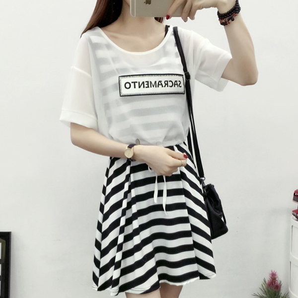 Printed Striped Dress With Outwear Top - White