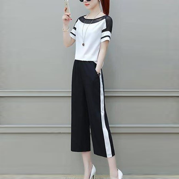 Boat Neck Contrast Two Pieces Suit - Black And White
