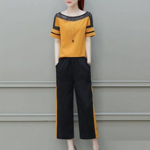 Boat Neck Contrast Striped Two Pieces Suit - Yellow