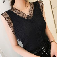 Lace Patched Women Summer Wear Blouse Top - Black
