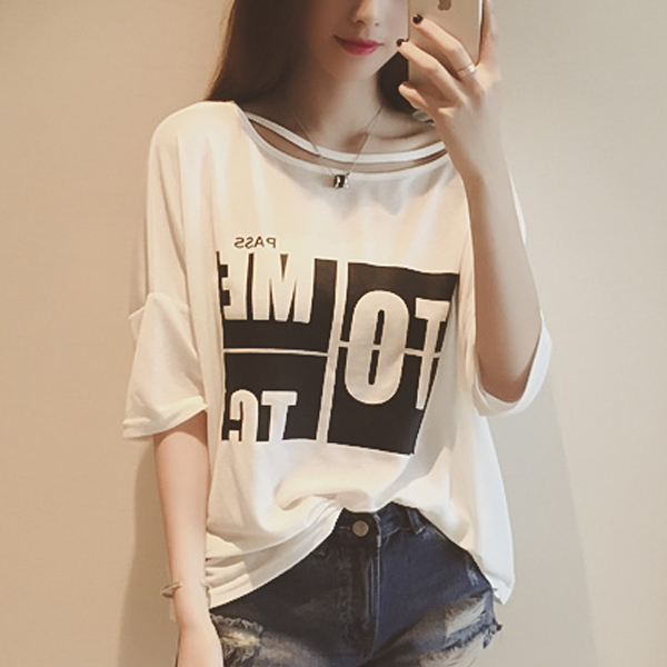 Wide Shoulder Printed Loose T-Shirt - White