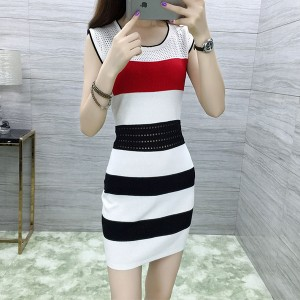 Sleeveless Hollow Waist Body Fitted Mini Dress - White