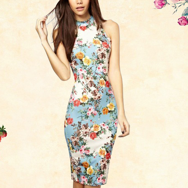 Printed Floral Vintage Casual Lady Maxi Dress
