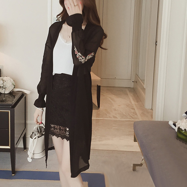 Embroidered Sleeves Cup Sleeves Ruffle Cardigan - Black