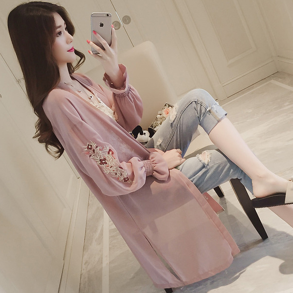 Embroidered Sleeves Cup Sleeves Ruffle Cardigan - Pink