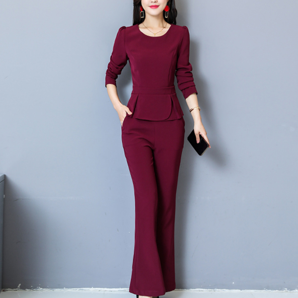 Pleated Double Layered Two Piece Party Suit - Red