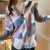 Fantastic Pattern Long Sleeves Suit Neckline Shirt - Pink