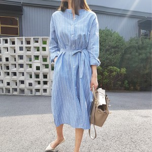 Stand Neck Lining Prints Waist Knotted Shirt Dress - Blue