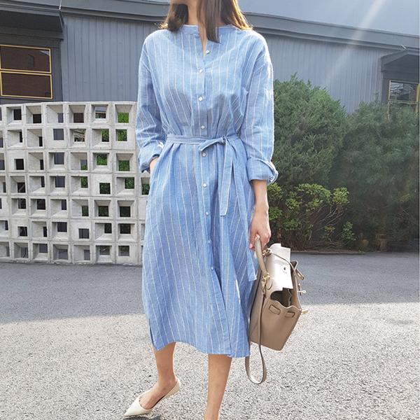 Stand Neck Lining Prints Waist Knotted Shirt Dress - Blue