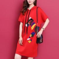 Thread Art Hoodie Neck Mini Casual T-Shirt Dress - Red