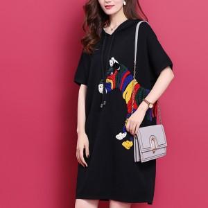 Thread Art Hoodie Neck Mini Casual T-Shirt Dress - Black