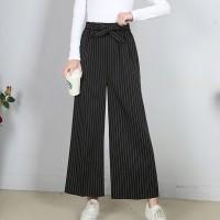 Vertical Stripped Full Length Female Pants - Black
