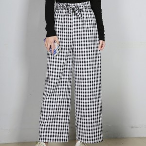 Check Prints Straight Style Casual Trousers - Black