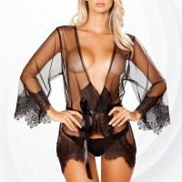Special Wear Nighty Two Pieces Lingerie Set - Black