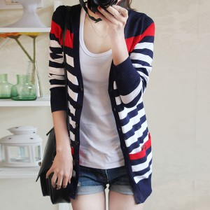 Striped Breathable Button Up Summer Outwear Jacket