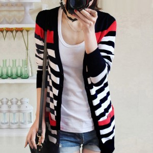 Striped Breathable Button Up Summer Outwear Jacket - Black