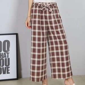 Check Prints Casual Wear Loose Trouser - Brown