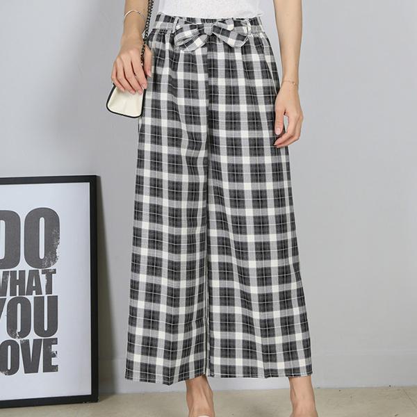 Check Prints Casual Wear Loose Trouser - Black