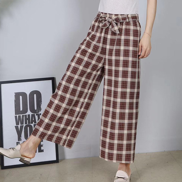 Check Prints Casual Wear Loose Trouser - Burgundy