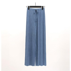 Casual Elastic Pant Ladies Loose Straight Trousers - Blue