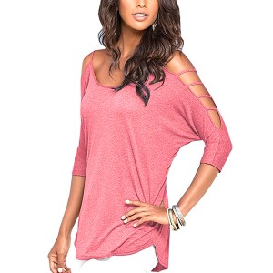 Cold Shoulder Spaghetti Straps Cutout Chic Tee Top Pink