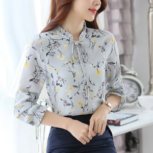 String Stand Neck Floral Soft Fabric Blouse Top - Light Grey