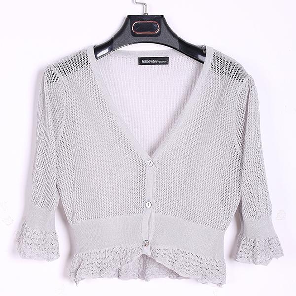 Flounce Sleeves Deep Neck Knitted Cloak - Grey