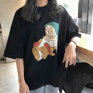 Grumpy Cartoon Prints Loose Casual T-Shirt - Black