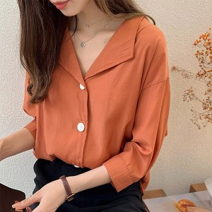 Suit Neck Button Up Loose Blouse Shirt - Orange