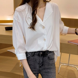 Suit Neck Button Up Loose Blouse Shirt - White